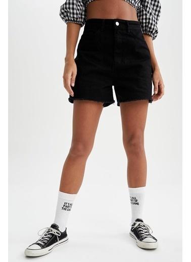 DeFacto Yırtık Detaylı Yüksek Bel Mini Jean Şort Siyah